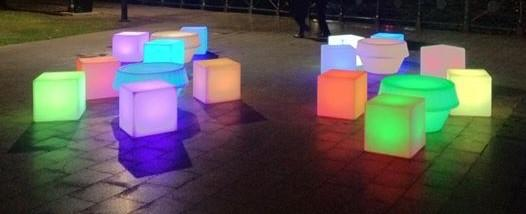 Glow furniture cubes and tables in various colours hired for the vivid festival