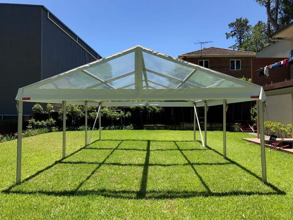 Clear marquee erected in a Artarmon back yard